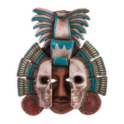 Ceramic mask, 'Life and Death in Teotihuacan' - Handcrafted Mexican Ceramic Skull Mask