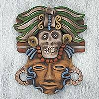 Ceramic mask, 'Death Cult Priest' - Handcrafted Mexican Ceramic Skull Priest Mask