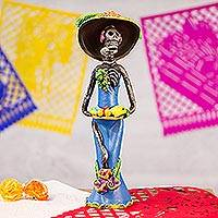 Ceramic sculpture, 'Catrina the Temptress' - Dia de los Muertos Ceramic Sculpture Crafted by Hand