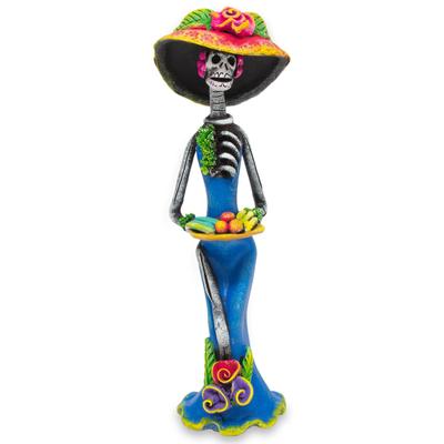 Ceramic sculpture, 'Catrina the Temptress' - Dia de los Muertos Ceramic Sculpture Crafted by Hand