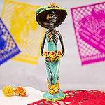 Day of the Dead Catrina Ceramic Sculpture Crafted by Hand, 'Catrina the Beautiful'