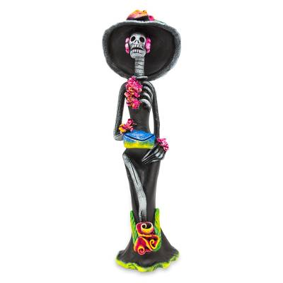 Ceramic sculpture, 'Catrina the Seductress' - Day of the Dead Catrina Ceramic Sculpture Crafted by Hand