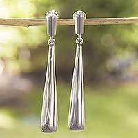 Sterling silver dangle earrings, 'Pedregal Rain' - Minimalist Artisan Crafted Sterling Earrings from Mexico