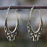 Sterling silver hoop earrings, 'Antique Taxco Lace'