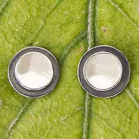 Sterling silver button earrings, 'Lunar Shadow' - Taxco Jewelry Sterling Silver Button Earrings