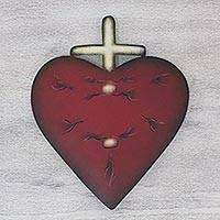 Steel wall art, 'Valiant Heart' - Steel Heart and Cross Sculpture for the Wall