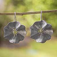 Sterling silver drop earrings, 'Cuernavaca Poppy' - Handcrafted Brushed Silver Flower Earrings