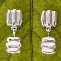 Sterling silver dangle earrings, 'Separate Ways'