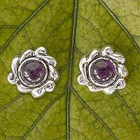 Amethyst button earrings, 'Wind Flower' - Handcrafted Amethyst and Silver Earrngs from Mexico