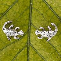 Sterling silver button earrings, 'Little Salamanders' - Mexican Lizard Sterling Silver Handcrafted Button Earrings