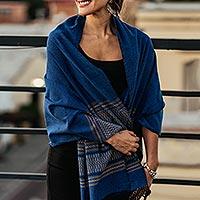 Zapotec cotton rebozo shawl, 'Golden Sea Foam' - Blue Cotton Zapotec Shawl from Mexico with Golden Motifs
