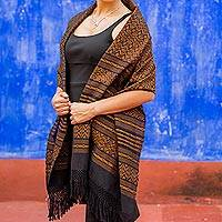Zapotec cotton rebozo shawl, 'Dry Leaves' - Handwoven Zapotec Cotton Shawl in Black and Orange