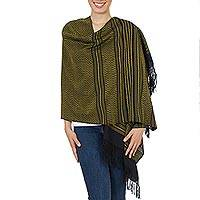 Zapotec cotton rebozo shawl, 'Sun and Shadow' - Handwoven Zapotec Black and Yellow Cotton Shawl
