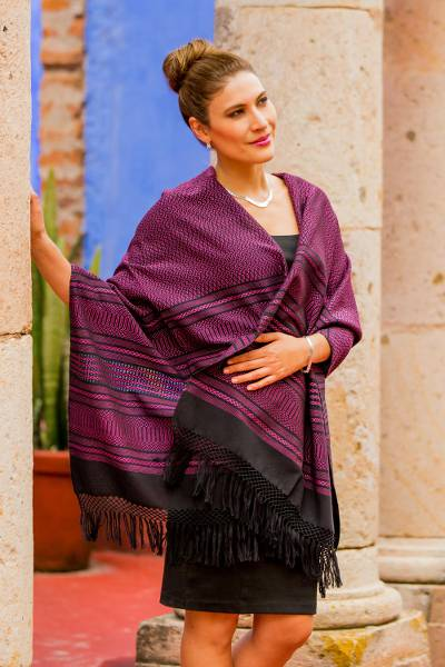 Zapotec cotton rebozo shawl, 'Mexican Rose' - Bright Pink and Black Cotton Handwoven Zapotec Shawl