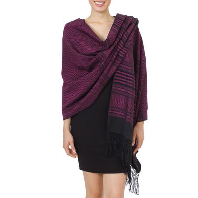 Zapotec cotton rebozo shawl, 'Mexican Rose' - Bright Pink and Black Cotton Handwoven Zapotec Shawl
