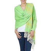 Zapotec cotton rebozo shawl, 'Golden Meadow' - Handwoven Bright Green and Yellow Cotton Zapotec Shawl