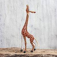 Wood figurine, 'My Curious Giraffe' - Wood Giraffe Figurine Sculpture Artisan Crafted in Mexico