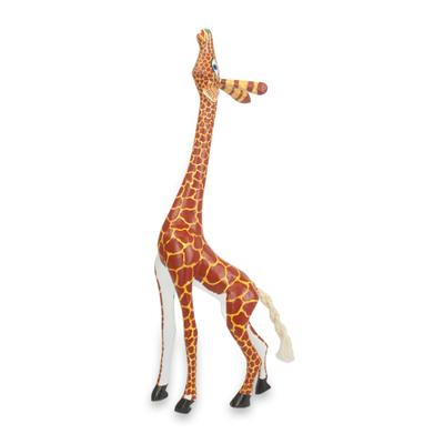Wood figurine, 'My Curious Giraffe' - Wood Giraffe Figurine Sculpture Artisan Crafted in Mexico