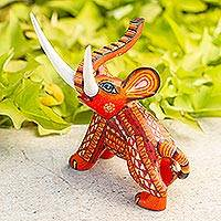Wood figurine, 'My Elephant Friend' - Artisan Crafted Wood Orange Elephant Figurine from Mexico