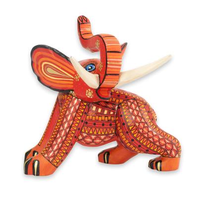 Wood figurine, 'My Elephant Friend' - Artisan Crafted Wood Orange Elephant Figurine from Mexico