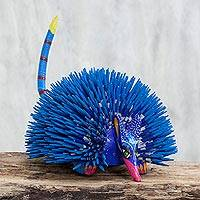 Alebrije figurine, 'Blue Porcupine of Peace' - Porcupine Figurine Artisan Crafted Alebrije Sculpture