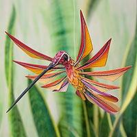 Alebrije sculpture, 'Colorful Hummingbird' - Multi Color Hummingbird Alebrije Sculpture Crafted by Hand