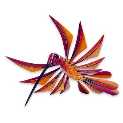 Alebrije sculpture, 'Colorful Hummingbird' - Multi Color Hummingbird Alebrije Sculpture Crafted by Hand