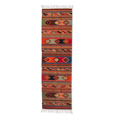 Zapotec wool runner rug, 'Oaxaca Fiesta' (2x6.5) - Zapotec Wool Runner Rug with Natural colours (2x6.5)