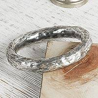 Sterling silver bangle bracelet, 'Taxco Halo' - Artisan Crafted Antiqued Sterling Silver Bangle Bracelet