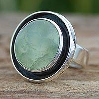 Prehnite cocktail ring, 'Verdant Glow'