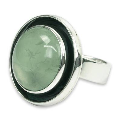 Prehnite cocktail ring, 'Verdant Glow' - Prehnite and Sterling Silver Ring Taxco jewellery Art