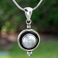 Cultured pearl pendant necklace, 'Lunar Shadow' - Taxco Jewelry Necklace Pearl and Sterling Silver
