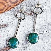 Chrysocolla dangle earrings, 'Taxco Pendulums' - Taxco Jewelry Chrysocolla and Sterling Silver Earrings