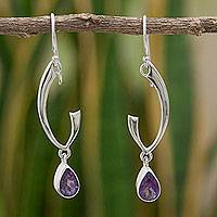 Amethyst dangle earrings, 'Lilac Spark' - Artisan Crafted Sterling Silver Earrings with Amethyst