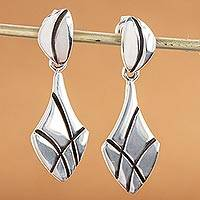 Sterling silver dangle earrings, 'Twin Leaves' - Modern Leaf Style Earrings Sterling Silver Taxco Jewelry