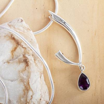 Amethyst pendant necklace, 'Lilac Spark' - Artisan Crafted Sterling Silver Necklace with Amethyst