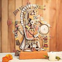 Ceramic Sculpture Aztec God Of Dawn Signed Artisan Crafted Aztec Ceramic Sculpture