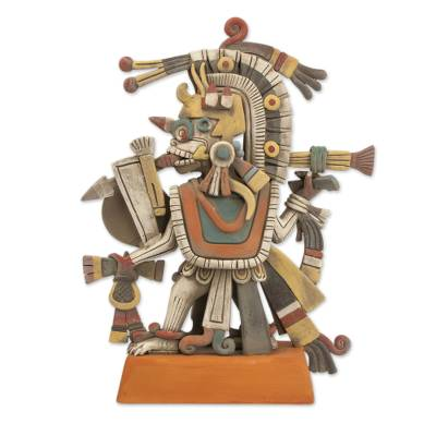 Signed Artisan Crafted Aztec Ceramic Sculpture from Mexico