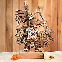 Ceramic sculpture, 'Aztec Deities' - Signed Ceramic Aztec Sculpture from Mexico