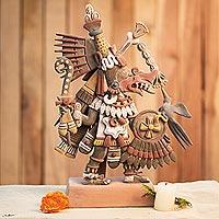 Ceramic sculpture, 'Aztec Deities' - Signed Ceramic Aztec Sculpture from Mexico