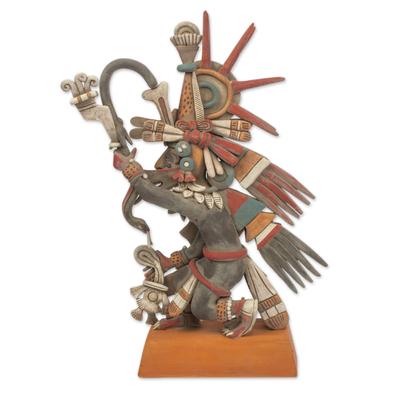 Ceramic sculpture, 'Aztec God Quetzalcoatl' - Signed Ceramic Sculpture of an Ancient Aztec Deity