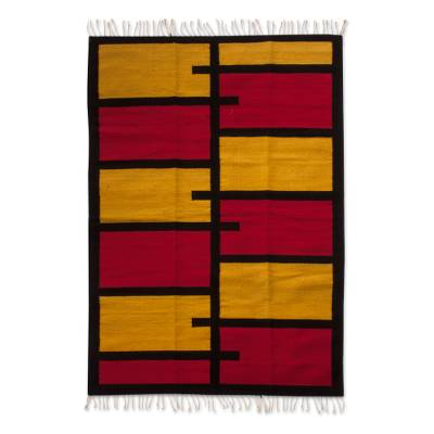 Zapotec wool rug, 'Modern Minimalism' (4x6) - Red and Yellow Abstract Modern Wool Zapotec Rug (4 x 6)