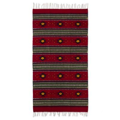 2 5 By 5 Foot Handwoven Red Zapotec Rug With Natural Dyes