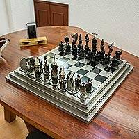 Upcycled auto part chess set, 'Rustic Warriors' - Upcycled Car Parts Chess Set Artisan Crafted in Mexico