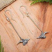 Sterling silver dangle earrings, 'Huitzitzilin' - Hummingbird Earrings Artisan Crafted Silver Jewelry
