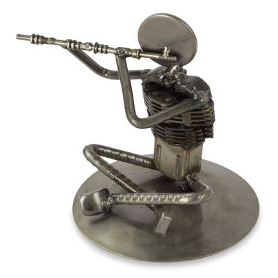 Auto part sculpture, 'Rustic Jazz Flute' - Mexico Recycled Auto Part Music Theme Sculpture