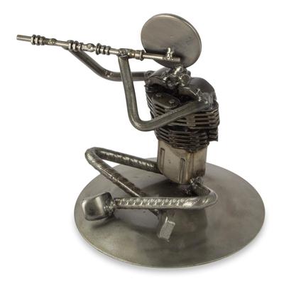 Auto part sculpture, 'Rustic Jazz Flute' - Mexico Recycled Auto Part Music Theme Sculpture