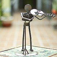 Auto part sculpture, 'Rustic Violin Virtuoso' - Mexico Eco Friendly Recycled Auto Part Rustic Sculpture