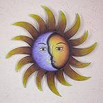 Artisan Crafted Sun and Moon Wall Art in Hand Painted Steel, 'Celestial Marriage'