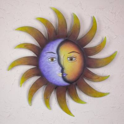 Steel wall art, 'Celestial Marriage' - Artisan Crafted Sun and Moon Wall Art in Hand Painted Steel